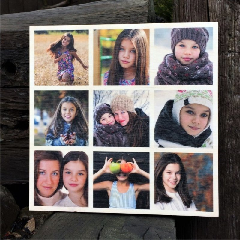 8 x 8 9 picture collage wood print